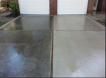 a freshly pressure washed driveway compared to a dirty one in naples