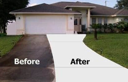 before and after power cleaning a naples fl driveway